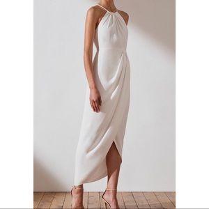 Shona Joy ivory Core high neck ruched maxi dress